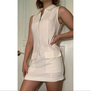 White Collared Sleeveless Short Dress, Size Small
